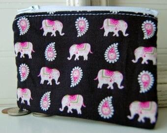 Vera Bradley zippered bag Handmade pink elephants black print small zipper pouch wallet change purse friend gift idea zippered bag