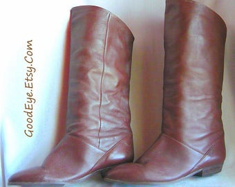 Vintage Flat PIXIE Knee Boots / Size 10 M Eu 42 UK 7 .5 / Flat Pirate Cuff Slouch Boot / Chocolate Brown Leather / MISTER made Argentina