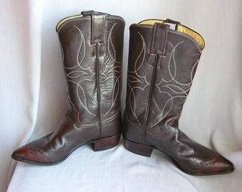 The Best BILLY MARTIN Western Boots / size 6 Eu 36  Uk 3.5 / Chocolate Brown Lizard Trim Leather / Ladies Cowboy boot Justin Rockabilly USA