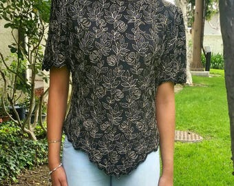 Vintage LAURENCE KAZAR Beaded Embroidered Party Top S M