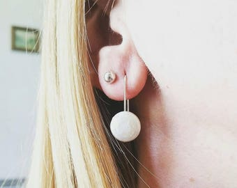 Minimalist sterling silver and freshwater pearl coin earrings. White coin pearl earrings.