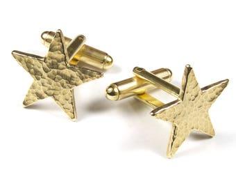 Star Cufflinks, Brass Cufflinks, Gold Star, Fathers Day, Black Star, Silver Star Cufflinks, Hand Made Cufflinks, Gifts for Him Gifts for Dad