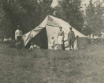 vintage photo 1917 Family CAmping Tent American Flag Trim RPPC