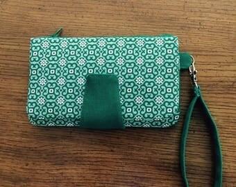 Green Geometric Floral Clutch Wallet