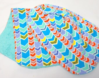 Baby Girl Bib and Burp Cloth, Baby Shower Gift, Welcome Baby Gift, New Mom Gift: Orange and Teal Chevrons
