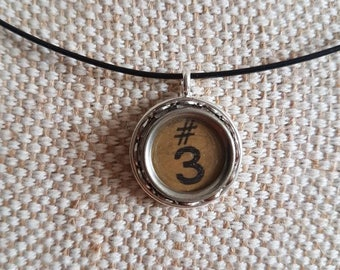 Genuine tan typewriter key pendant / lace setting necklace 3 and # symbol / upcycled jewelry / initial pendant / black neckwire