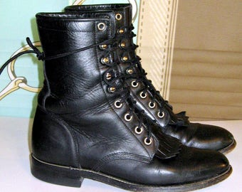 Vintage Justin Combat Boots Black leather Lace Up Boho//Grunge Sz.8B Mens Womens Sz 9