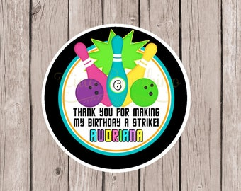 PRINTABLE GLOW Bowling Favor Tags / Print Your Own Bowling Bowling Birthday Party Favor Tags or Stickers / Night Bowling / Neon Colors /