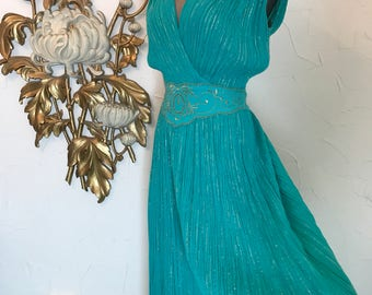 1970s dress grecian dress aqua dress lurex dress size medium vintage dress 1970 sundress 36 bust gauze dress