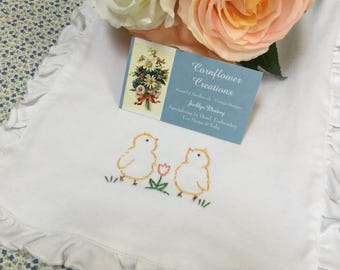 Twin Chicks - Hand Embroidered Vintage Style Baby Burp Cloth by Cornflower Creations
