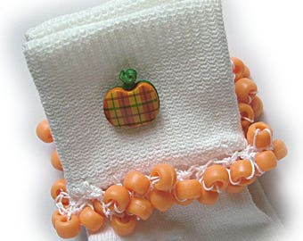 Kathy's Beaded Socks - Plaid Pumpkin socks, girls socks, matte socks, school socks, orange socks, button socks, green socks, fall socks