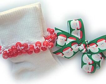 Kathy's Beaded Socks - Santa Baby Socks and Hairbow, Christmas socks, holiday socks, red socks, Santa socks, green socks