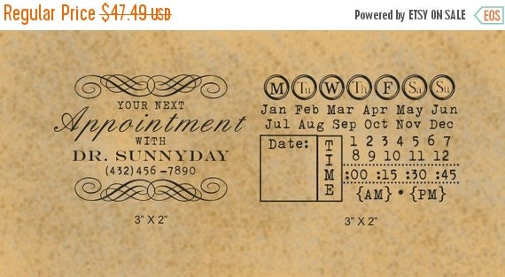 Super Summer Sale Vintage Look Set of Two DIY Appointment Card Custom Rubber Stamps 147