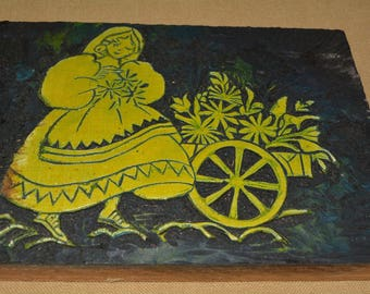 VINTAGE mid century hand carved linoleum block Danish girl with flower cart