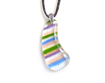 Glass Pendant with Stripes of Color, Pendant Necklace, Multiple Colors, Handmade Jewelry