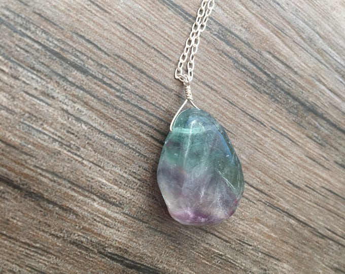 Chunky Fluorite Littles Necklace Sterling Silver