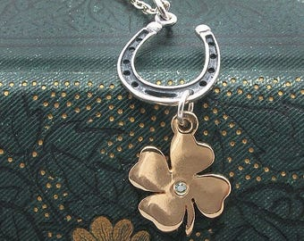 shamrock necklace, horseshoe necklace, Irish jewelry, lucky pendant, clover necklace, horse shoe pendant, four leaf clover, green diamond