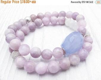 morganite bracelet, moonstone bracelet, lavender gemstone bracelet, blue lace agate, sterling silver, wedding jewelry, wedding bracelet
