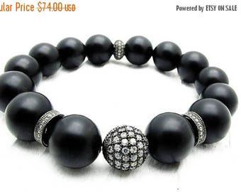 pave bracelet, black onyx bracelet, CZ pave bracelet, stretch bracelet, luxury bracelet, pave jewelry, black gemstone bracelet, Gift for her