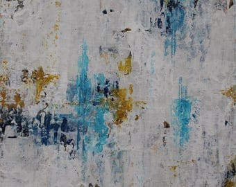 "Original Abstract Landscape Painting -- Summer Haze  -- 6 x 6"""