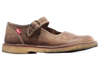 Women Us 11 Waxed Vintage Mary Jane  90s Waxed Brown Leather DUCKFEET Shoes All Seasons Wide Fit Durable Women Shoes Swiss Made Eur 42, Uk 9