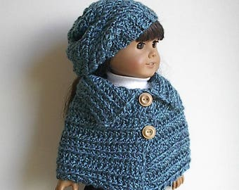 "18"" Doll Crocheted Poncho and Slouchy Hat in Teal Handmade to Fit the American Girl and Similar Dolls"