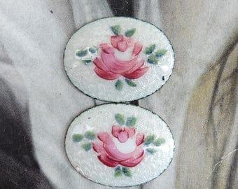 2 Vintage Guilloche Enamel Rose Cabochon Oval