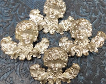 4 Vintage Cherubs Cupid Metal Decoration Embellishment Supply