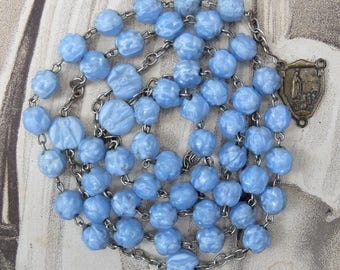 Vintage Rosary Chain Blue Rose Beads Pressed Glass AS IS