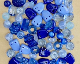 Vintage Bead Mix Assortment Blue Glass Destash Supply