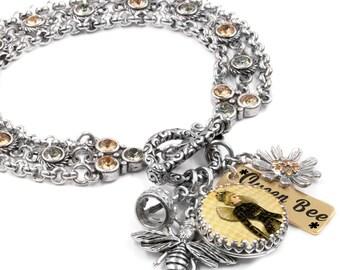 """Queen Bee Charm Bracelet, Stainless Steel Charm Bracelet, Bumble Bee Jewelry, Bumble Bee Bracelet, """"The Queen Bee"""""""