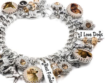 Personalized Dog Charm Bracelet, Customized Dog Jewelry with your own pet photo, Dog Bracelet, Silver Charm Bracelet, Gifts for Dog Lovers
