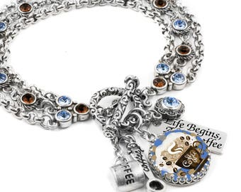 Coffee Charm Bracelet, Java Jewelry, Morning Coffee Bracelet, Coffee Jewelry