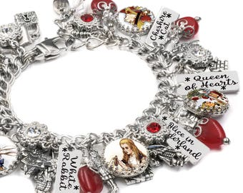 Alice in Wonderland Jewelry, Alice in Wonderland Bracelet, Stainless Steel Charm Bracelet, White Rabbit Charm Bracelet