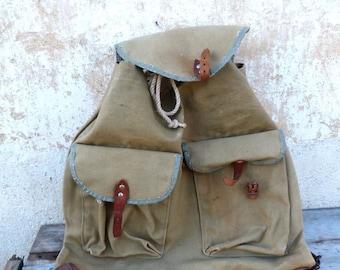 ON SALE Vintage Antique 1930 French khaki canvas backpack