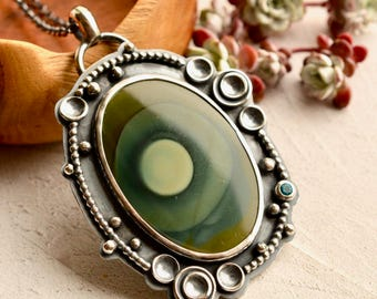 Royal Imperial Jasper Necklace, Green Stone Pendant, Unique Statement Jewelry, Hand Fabricated, Artisan Silver Jewelry
