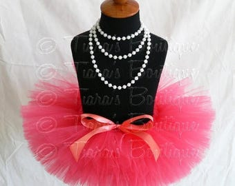 SUMMER SALE 20% OFF Coral Pink Baby Tutu - Baby Toddler Girls Tutu - Sewn Infant Tutu - Ready To Ship - sizes newborn up to 12 months - Phot