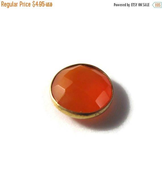 SALE 50% off - NON DRILLED Chalcedony Stone, Bezel Set Orange Gemstone, Gold Plated Bezel, Jewelry Supplies, 13mm Stone (C-Ra3b)