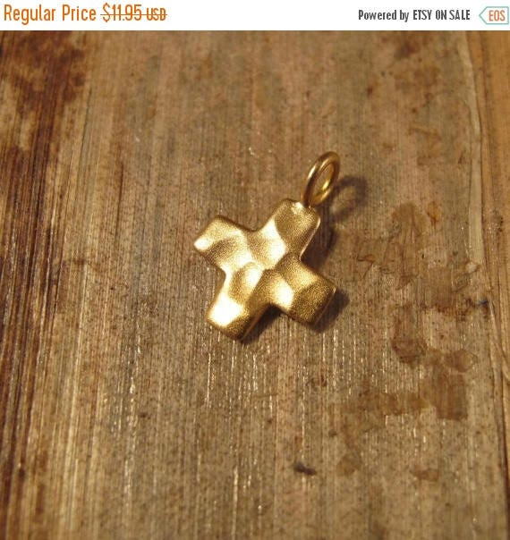 Summer SALEabration - Gold Cross Charm, Hammered Cross Charm, 24k Gold Plated over Sterling Silver Pendant, Small Cross Charm, Vermeil (CH 2