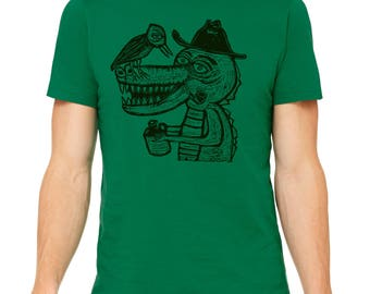 Country Croc Hand Carved   Woodblock Printed T Shirt