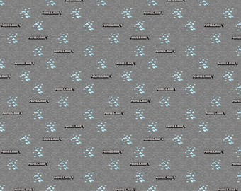 MINECRAFT logo blocks on Gray, cotton fabric, 1 Yard