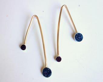 Asymmetric Druzy Pendulum Stud Dangles in 14k Goldfilled with Sterling Bezels