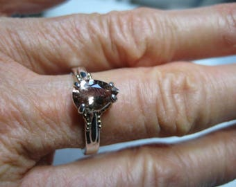 Beautiful Bi Color Oregon Sunstone  Sterling Silver and 14 kt Gold ring ..... size 7 1/2.....a961