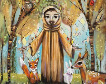 Saint Francis Assisi in forest with animals - fox, bunny, deer, owl, raccoon, bird, skunk, lady bug, butterfly