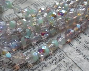 Clear and Laguna Opal AB Fire Polished 8mm Beads 25 Pcs