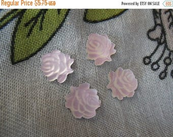 SALE 30% Off Matte Palest Pink Glass Rose Cabochons 9mm 4 Pcs