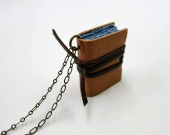 Tan Leather book necklaces, Book pendant, leather journal, jewelry, mini diary, miniature journal, hand made, paper goods