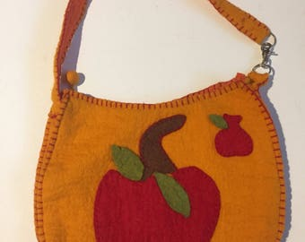 Handmade felt apple purse bag