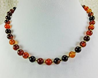 Lovely Red, Black and Brown Agate Beaded Short Necklace Choker