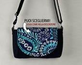 Bag Nadeem Canvas blue + hips black canvas flap interchangeable removable shoulder strap handle cotton fabric pockets
